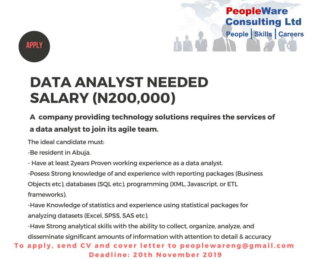 Employment Opportunity for a Data Analyst in Abuja