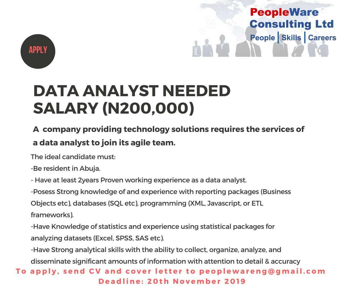 Data Analyst Needed in Abuja