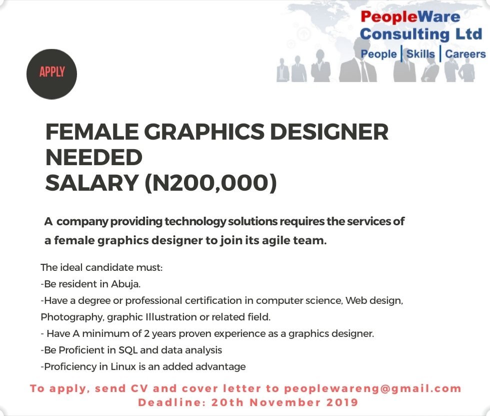 Female Graphics designer Needed